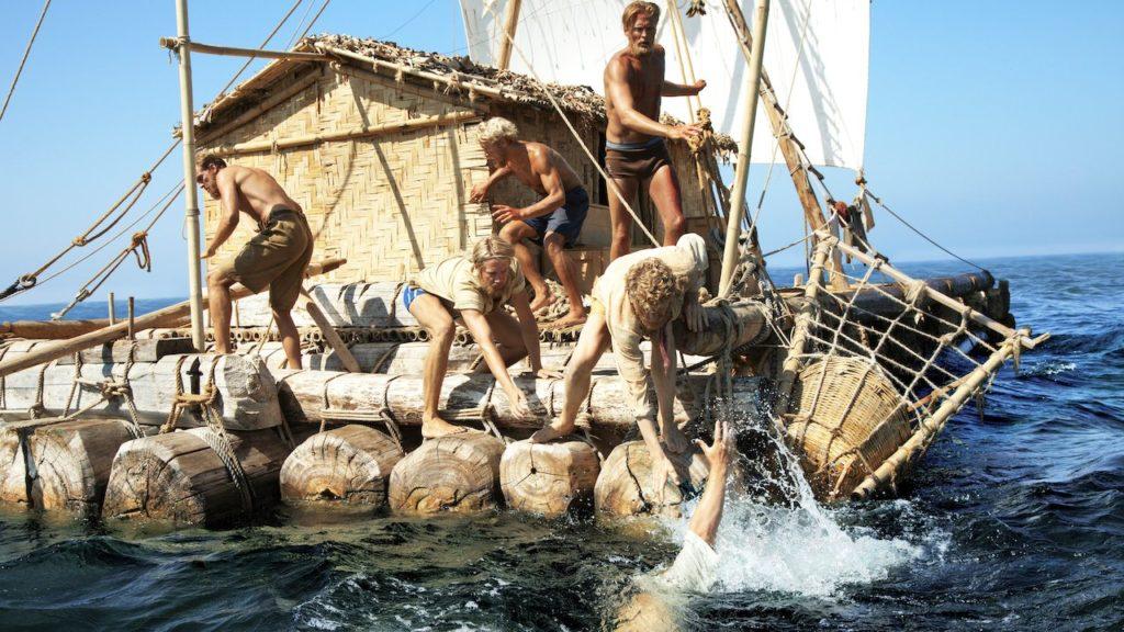 Flotten Kon-Tiki som tog Thor Heyerdahl och hans besättning över Stilla havet 1947.