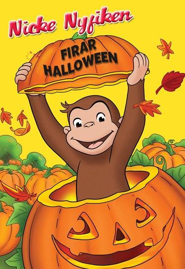 Nicke Nyfiken firar Halloween.