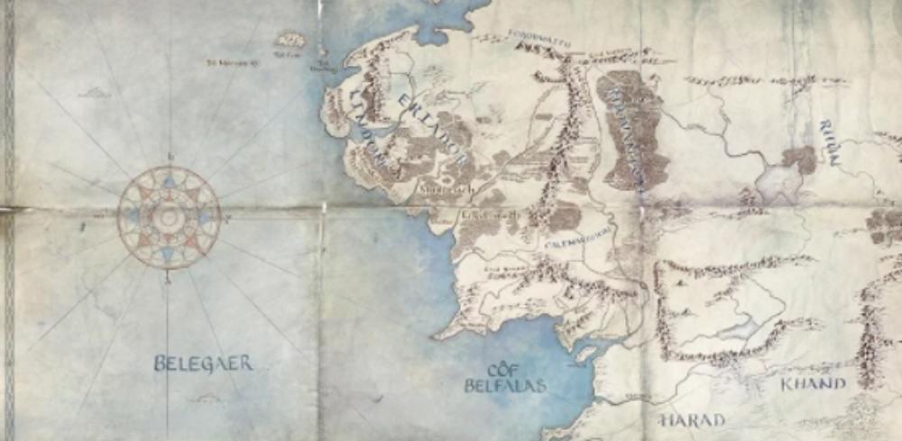 Karta från Sagan om ringen-serien - premiär 2021